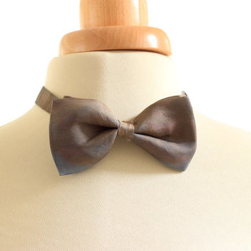 Plum brown blue naturally dyed silk bowtie, hand dyed with madder and indigo