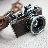 Adjustable leather necklace men necklace women necklace boys necklace made of brown leather and alloy camera