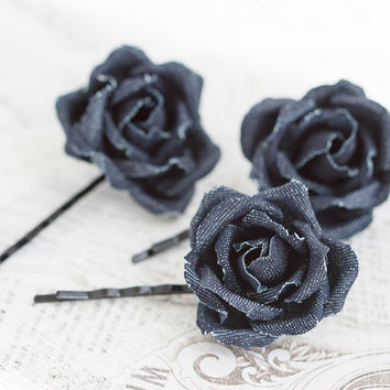Dark denim hair accessories, Jean flowers, Denim flower pin, Dark blue roses, Kids accessories, Jean style hair piece, Hair clip girls