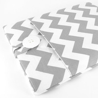 Chevron iPad 2 Case Sleeve, New iPad 3 Case, Padded, Pocket - White And Grey Chevron.