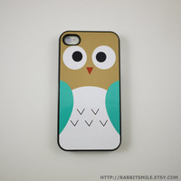 Khaki/blue Owl iPhone 4 Case, iPhone 4s Case, iPhone 4 Cover, Hard iPhone 4 Case