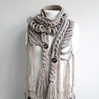 Free SHIPPING Milky Brown Wool  Scarf with Brown Button christmasinjuly gift For Her
