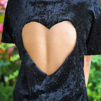 velour heart cut out top