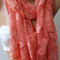 Butterfly / Salmon pink  - Elegance  Shawl - Scarf
