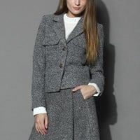 Classy Grey Twilled Blazer and Skirt Set  Grey
