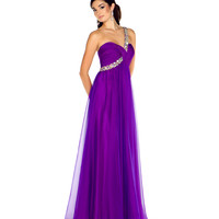 Mac Duggal 2013 Prom Dresses - One Shoulder Purple Chiffon Gown with Sequin & Rhinestone Embellishments