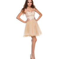 Ivory Tulle & Gold Lace Strapless Dress Prom 2015