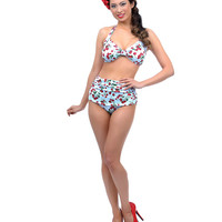 1950s Style Blue Cherries Delight Two Piece Swimsuit