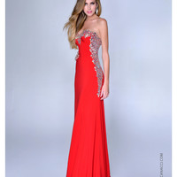 Nina Canacci 2014 Prom Dresses - Red Satin & Silver Filigree Strapless Gown