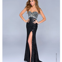 Nina Canacci 2014 Prom Dresses - Black Sequin & Beaded Strapless Sweetheart Prom Dress