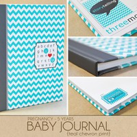 Baby Book - Teal Chevron (125 Desig.. on Luulla