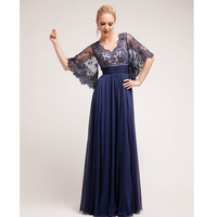 Navy Beaded Lace Open Sleeved Long Dress