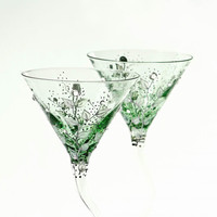 MADE to ORDER Green Martini Glasses Silver leafs Clear  and Emerald Swarovski  Crystals