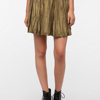 BB Dakota Flora Pleated Metallic Mini Skirt
