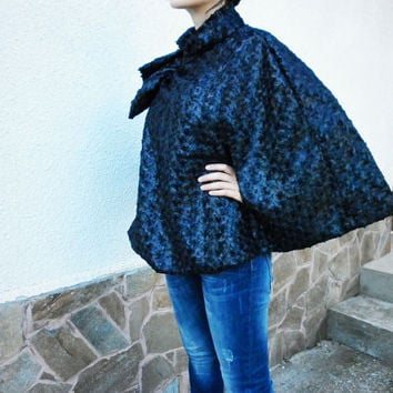 NEW Fall Winter Black Poncho / Elegant Stylish Coat/ High Quality Poncho/ Chic Modern Cape/ Party Coat/ Casual Poncho by moShic C001