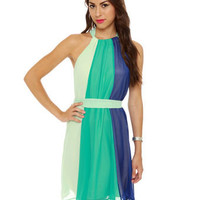 Pretty Color Block Dress - Aqua Dress - Halter Dress - $47.00