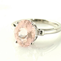 14K Morganite Ring Custom Oval Cut Gemstone Ring 14K White Yellow Rose Gold Fleur de Lis