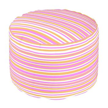 Pink, Orange and White Stripes Pouf