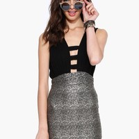 Metallics Materialized Bodycon Mini Dress