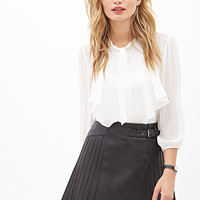 LOVE 21 Faux Leather Pleated Skirt Black