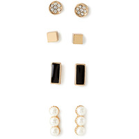 FOREVER 21 Mixed Geo Earring Set Gold/Black One