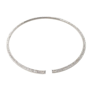 FOREVER 21 Rhinestoned Collar Necklace Silver/Clear One
