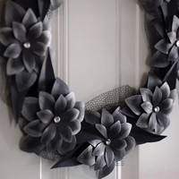 Darkness in Bloom Halloween Wreath Black Leaves and Paper Flowers Halloween Decor 12""