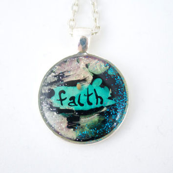 Trendy Faith Mustard Seed Necklace a Grunge Mix of Black Teal Silver