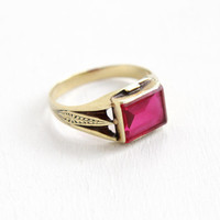 Antique Art Deco 10k Yellow Gold Created Ruby Ring - Vintage 1920s Size 9 3/4 Mens Synthetic Red Pink Stone Embossed Fine Jewelry