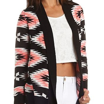 Aztec Open Cardigan Sweater by Charlotte Russe - Black Combo