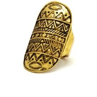 Antiqued Aztec-Etched Ring by Charlotte Russe - Antique Gold