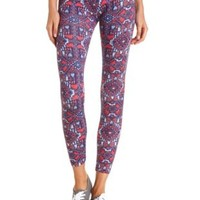 Cotton Southwest Printed Leggings by Charlotte Russe - Coral