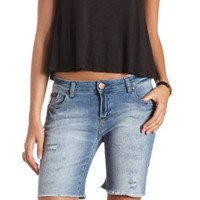 Distressed Cut-Off Denim Bermuda Shorts - Med Wash Denim