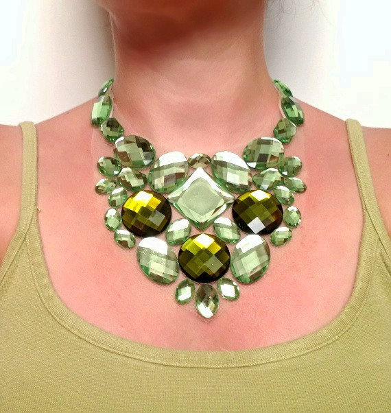 bib necklace geen bib prom green necklace bib party necklace bridal necklace green bib bridesmaid necklace