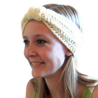 Womens ear warmer headband turban style off white