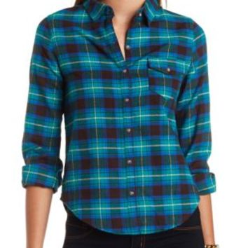 Long Sleeve Plaid Flannel Button-Up Top by Charlotte Russe - Green