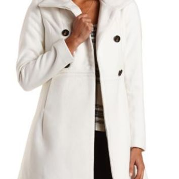 Double Breasted Funnel Neck Coat by Charlotte Russe - Ivory