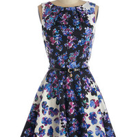 Closet Mid-length Sleeveless Fit & Flare Luck Be a Lady Dress in Kaleidoscope Garden
