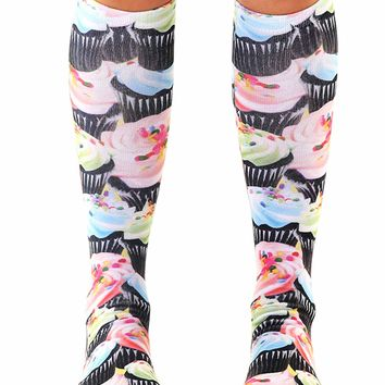 Cupcake Craze Knee High Socks (Black)