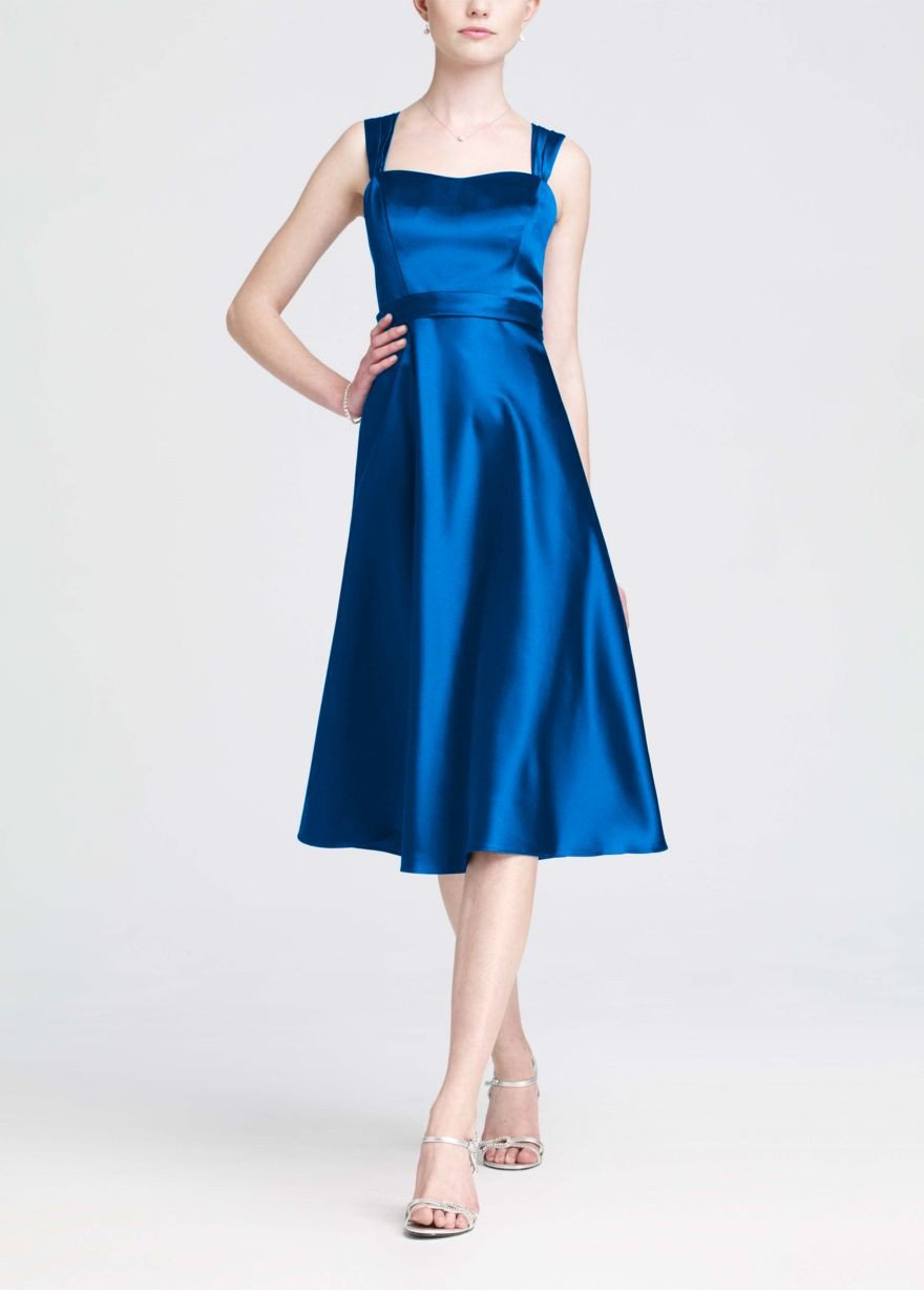 Buy Style Satin Wide Strap Tea Length Dress Style F14556 for $88.26 only in Fashionwithme.com.