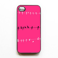 Iphone Case. &quot;Pop of Pink&quot;. Hot Pink. Black. White. Girly. Birds. Iphone 4 case. 4s case. Chic. Gift for her. Fun. Neon. Bright