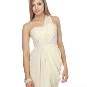 Heart Grow Fonder One Shoulder Ivory Dress