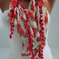 Red Floral pompom Shawl Scarf - Headband Necklace Cowl by DIDUCI