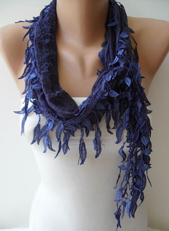 Dark Blue Laced Scarf with Trim Edge -Speacial Laced Fabric..