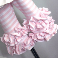 Ruffle Leggings Pale Pink and White Stripes Jersey Knit Size 2 to 8  Additional colors available