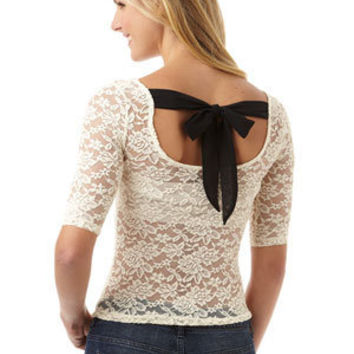 Lace Back Tie Long-Sleeve Tee