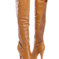 Chestnut Over The Knee Boots Faux Leather
