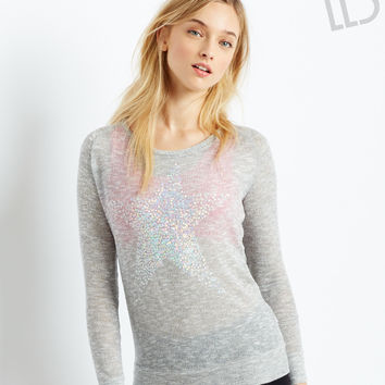 Aeropostale LLD Long Sleeve Shimmer Star Knit Top - Med Heather Grey, X-Small