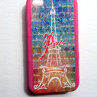 Rubber iPhone Case Fis 4 and 4S Paris in Pink Original Artwork