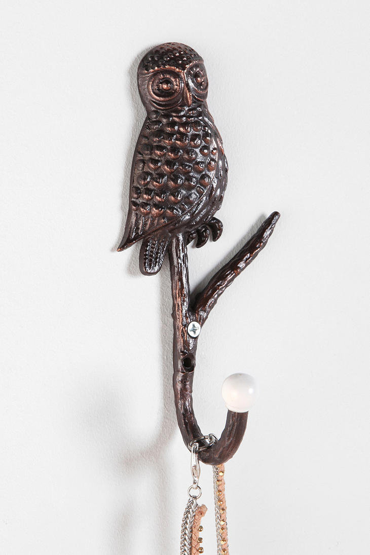 Owl-On-Branch Hook